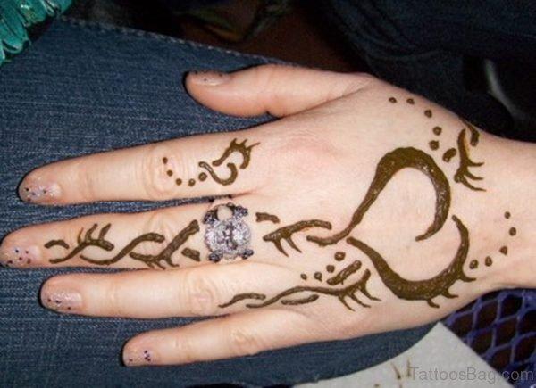 Unique Henna Flower Tattoo On Left Hand