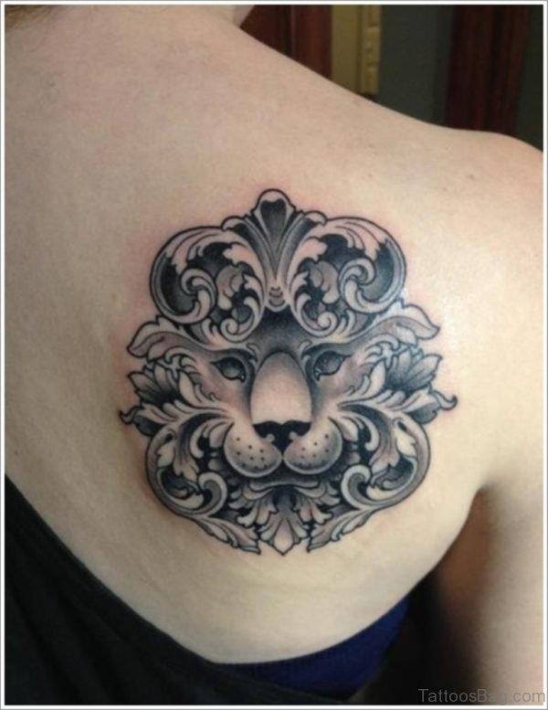 Unique Lion Tattoo On Back