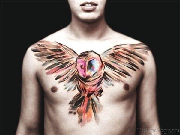Unique Owl Chest Tattoo