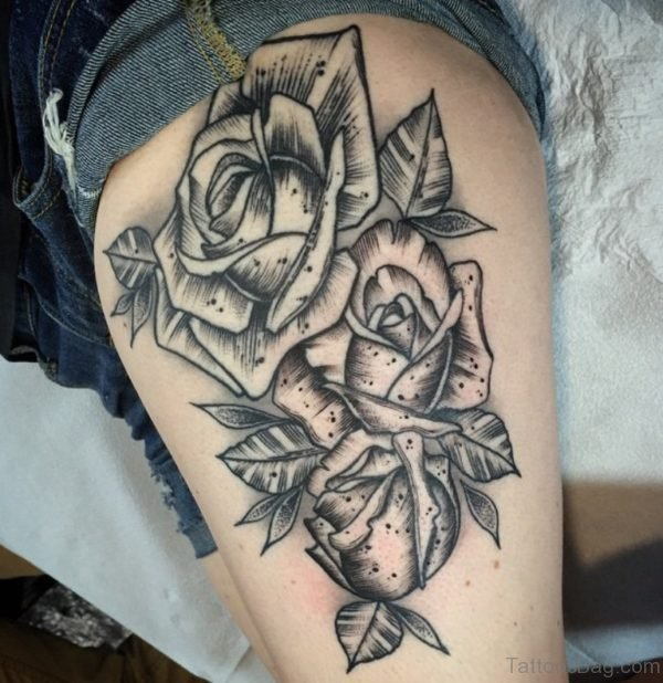 Unique Rose Tattoo On Thigh