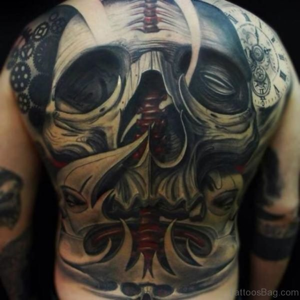Unique Skull Tattoo On Full Back