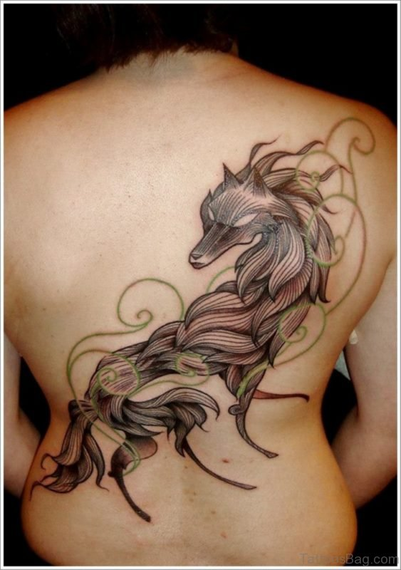 Unique Wolf Tattoo On Back