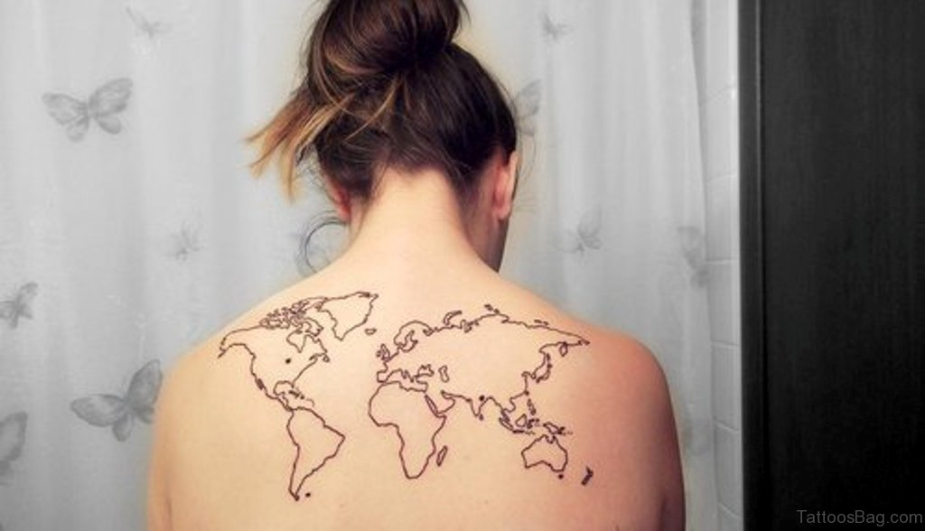 64 Nice Map Tattoos For Back