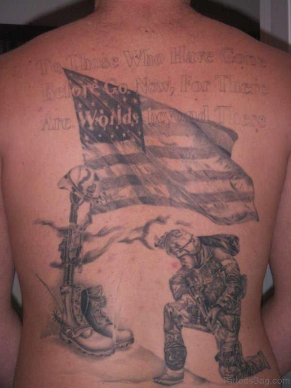 USA Patriotic Military Full Back Tattoo