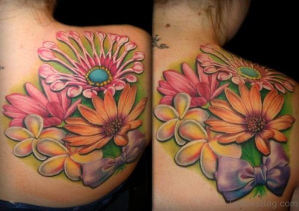 Vibrant Color Flowers Tattoo