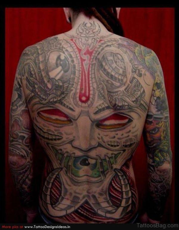 Viking Biomechanical Tattoo On Back