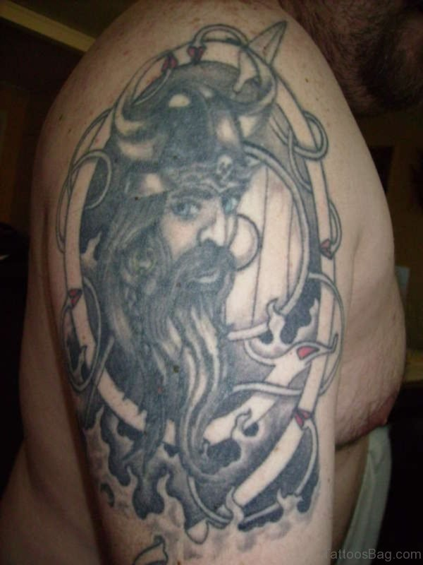 Viking Black Shoulder Tattoo