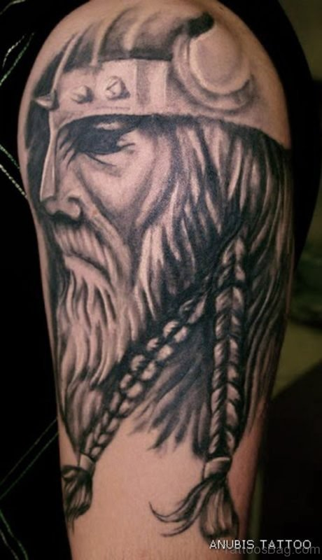 Viking Black Tattoo Design On Shoulder