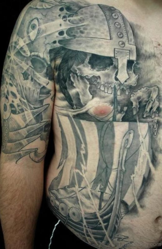 Viking Ship And Skull Tattoo