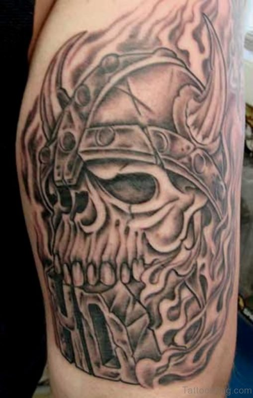 Viking Skull Tribal Tattoo