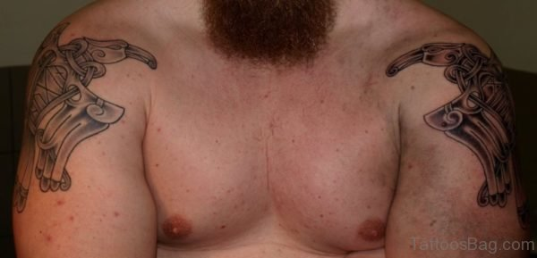 Viking Tattoo On Both Shoulder