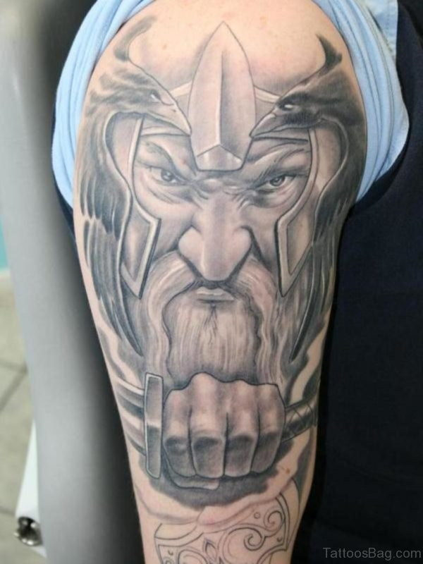 Viking Tattoo On Left Shoulder
