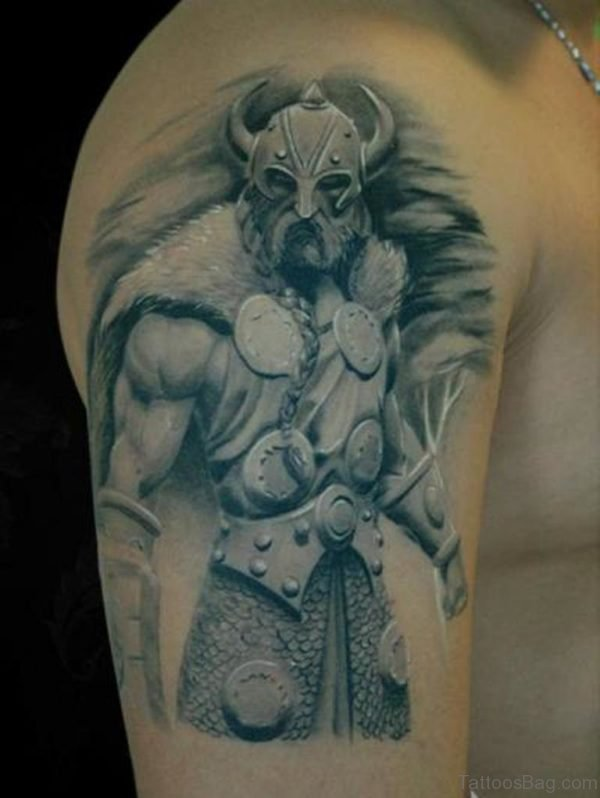 Viking Warrior Shoulder Tattoo Design