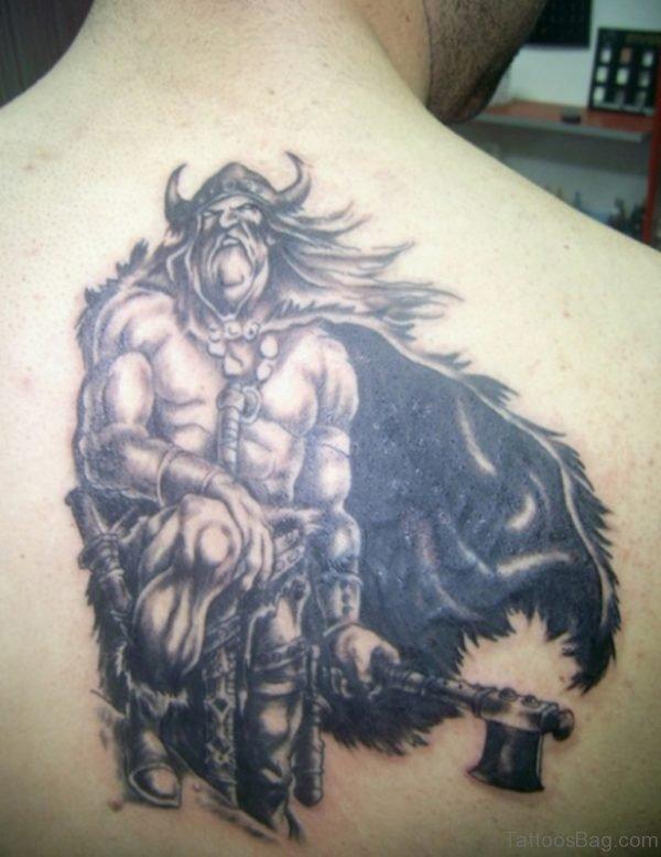 Viking Warrior Tattoo Design On Back