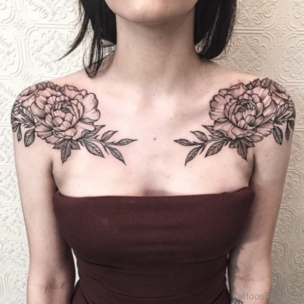 Vintage Flower Tattoo On Shoulder