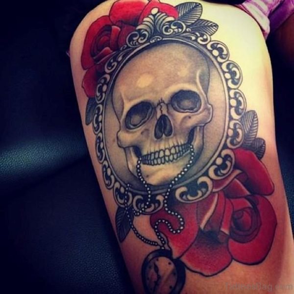 Vintage Skull And Rose Tattoo