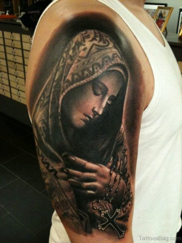 Virgin Mary Shoulder Tattoo