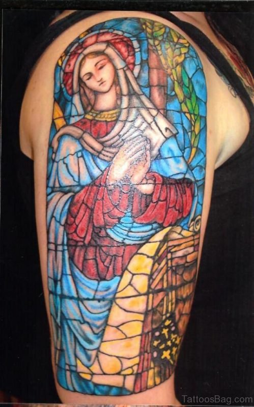 Virgin Mary Stained Glass Tattoo