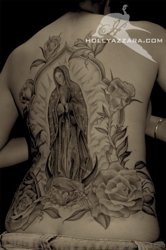 Virgin Mary with Roses Back Tattoo