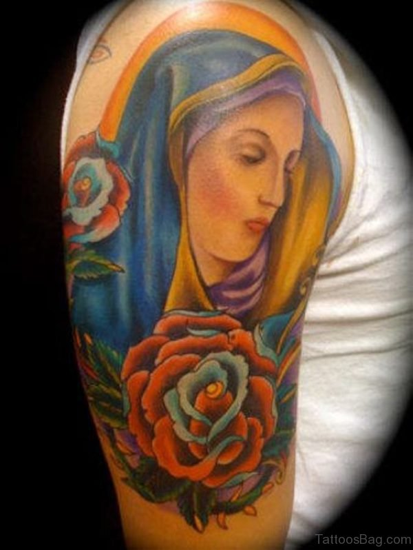 Virgin Shoulder Tattoo Design