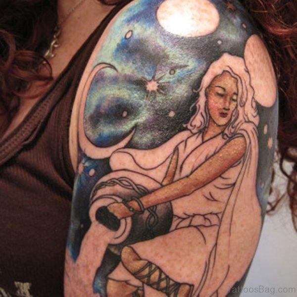 Virgo Shoulder Tattoo