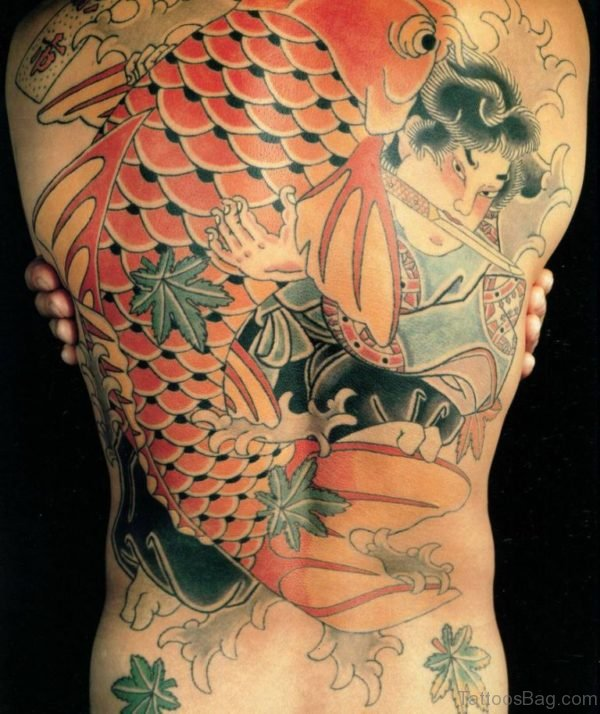 Warrior And Fish Tattoo On Back