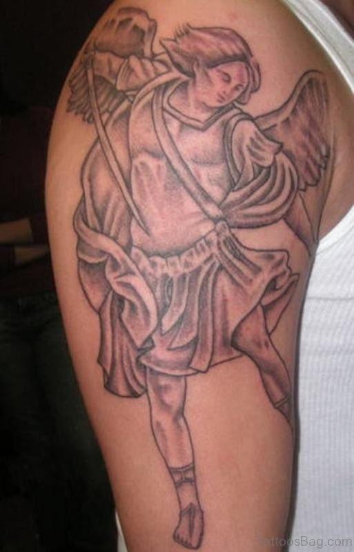 Warrior Angel Shoulder Tattoo Design