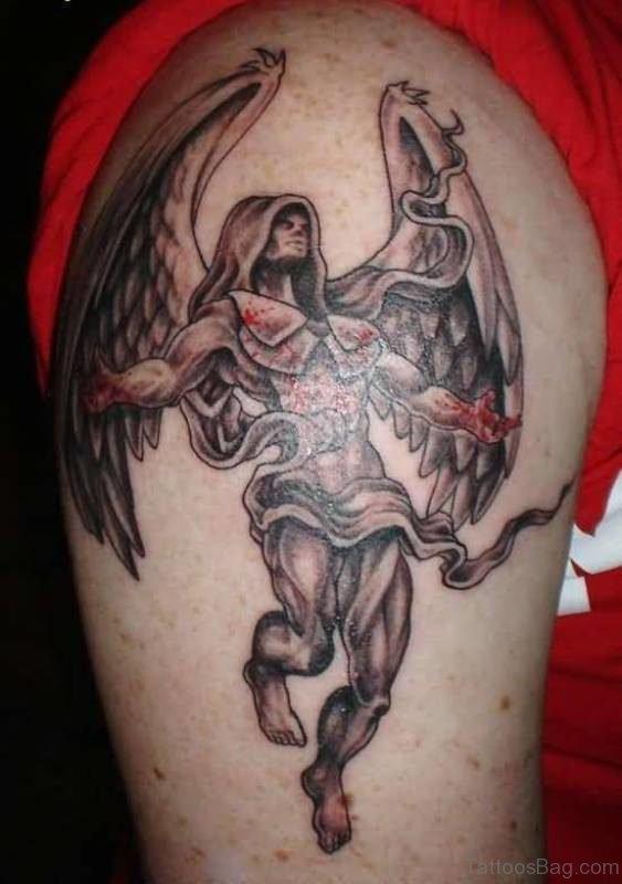 Warrior Angel Shoulder Tattoo Desing