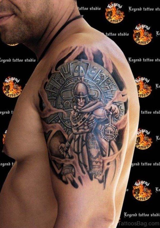 Warrior Aztec Tattoo On Right Shoulder