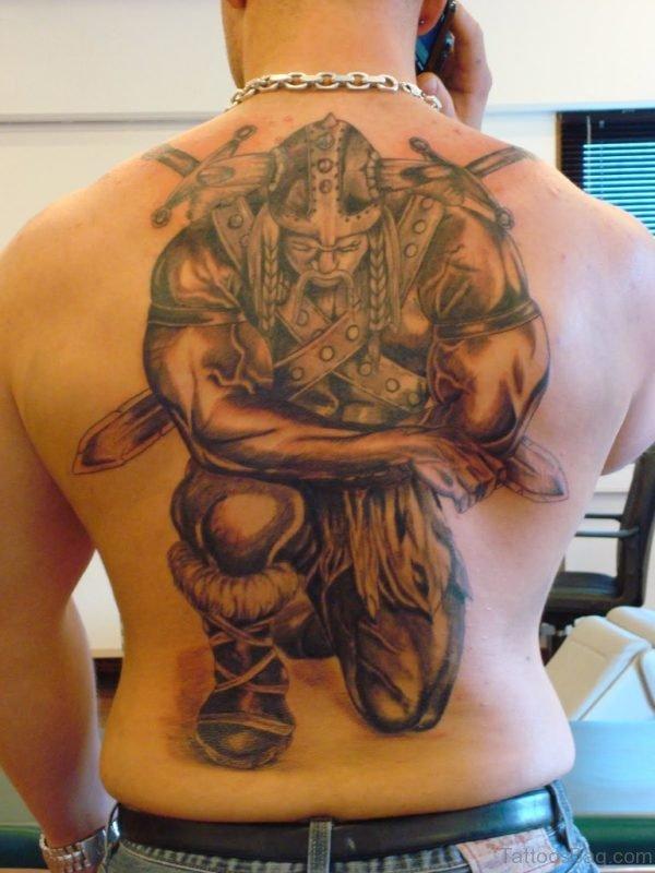 Warrior Tattoo Design On Back