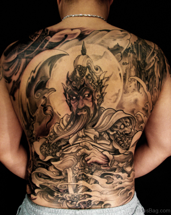 Warrior Tattoo Design On Full Back