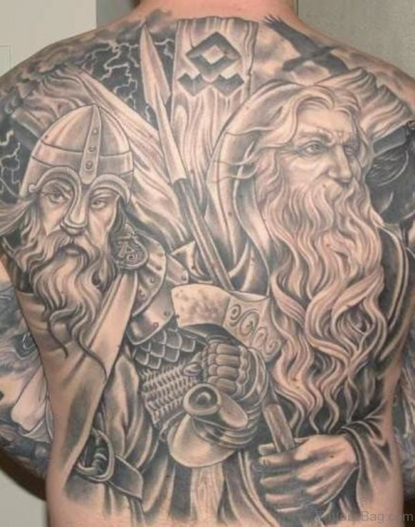 Warrior Tattoo On Full Back