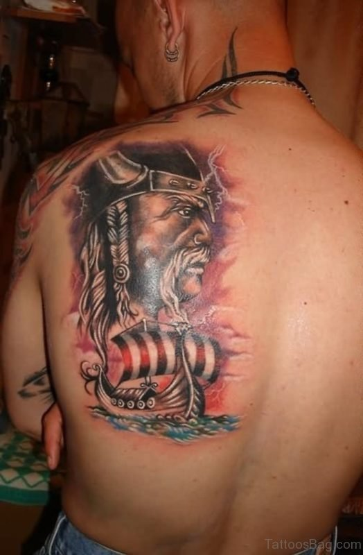Warrior Viking Ship Tattoo