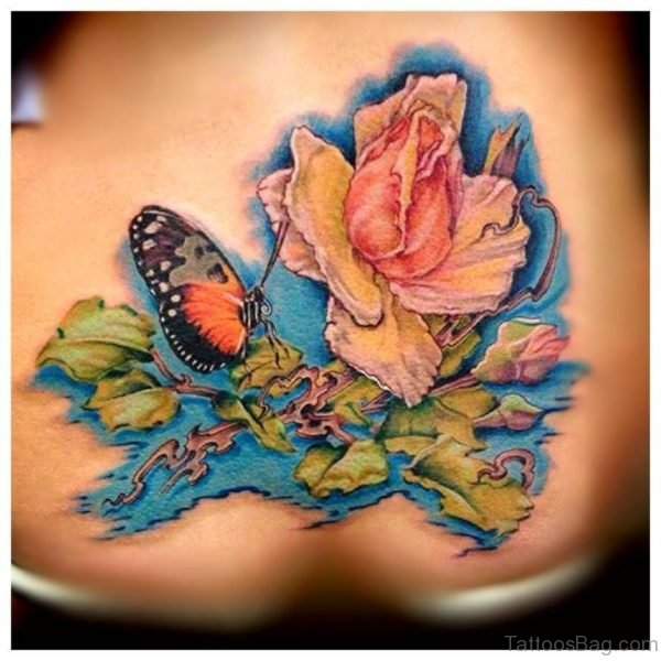 Water Color  Butterfly And Flower Tattoo