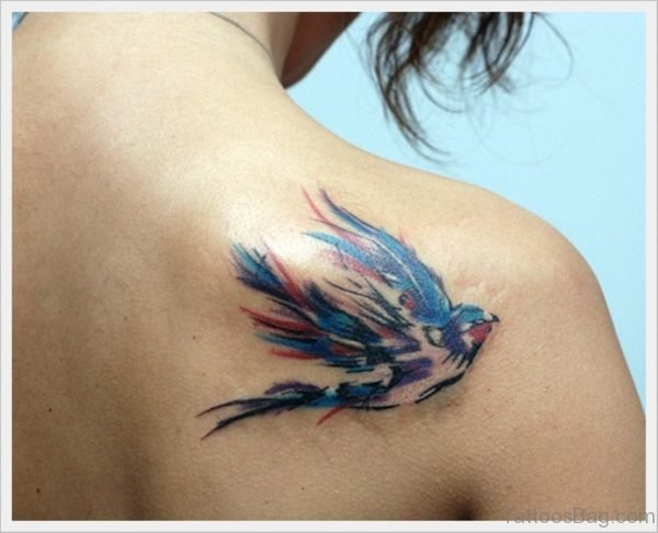 Swallow Bird Tattoo On Back