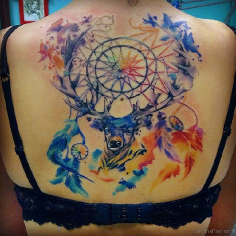 50 wonderful dreamcatcher tattoos on back for Watercolor dreamcatcher tattoo