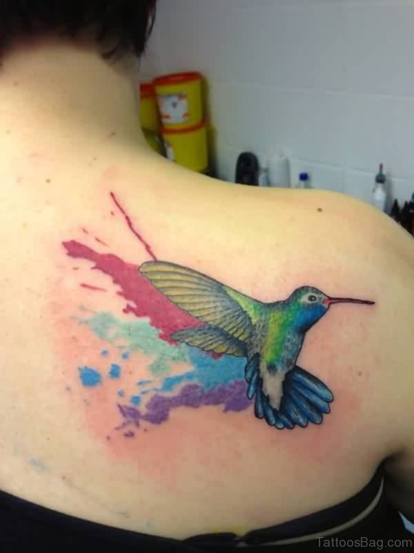 Watercolor Bird Tattoo On Right Back