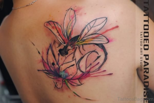 Watercolor Dragonfly Tattoo On Back