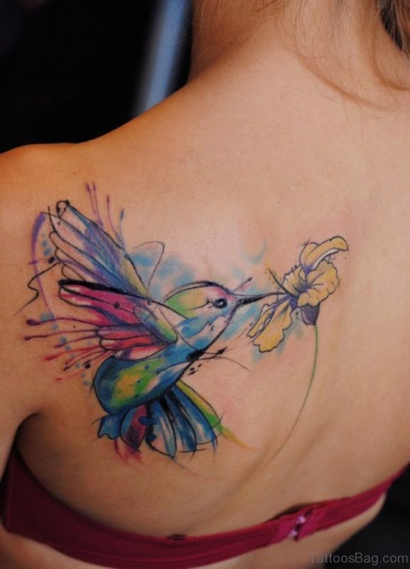 Watercolor Flower And Bird Tattoo