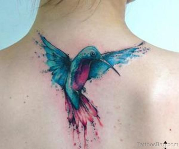 Watercolor Flying Bird Tattoo On Upper Back