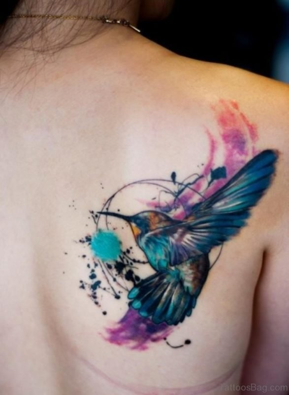 Watercolor Hummingbird Tattoo On Back