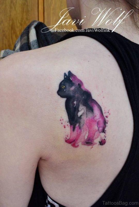 Watercolor Kitten Back Tattoo