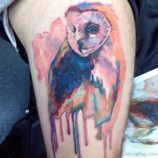 Watercolor Owl Tattoo Design For Thigh