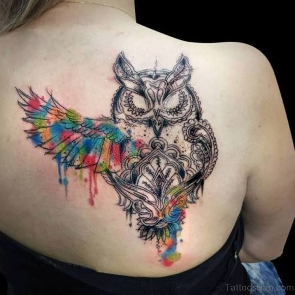 Watercolor Owl Tattoo