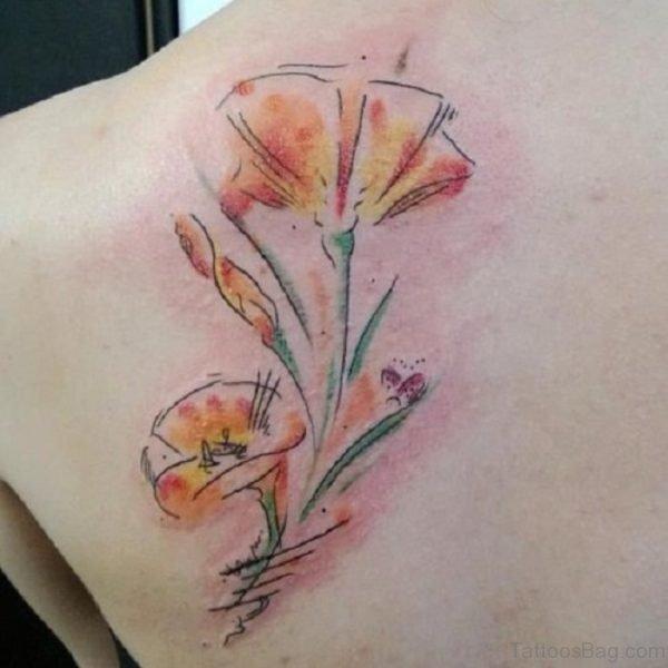 Watercolor Poppy Flower Back Tattoo