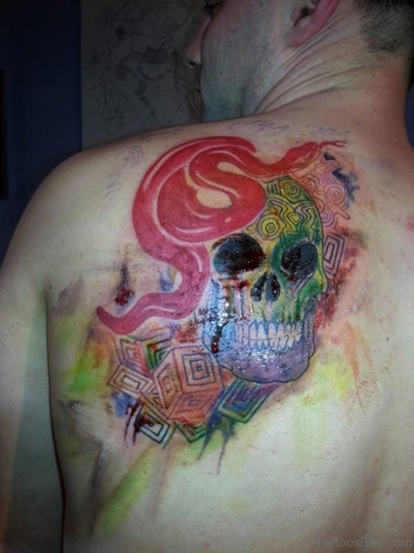 Watercolor Snake And Skull Tattoo