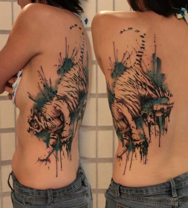 Watercolor Tiger Tattoo On Back