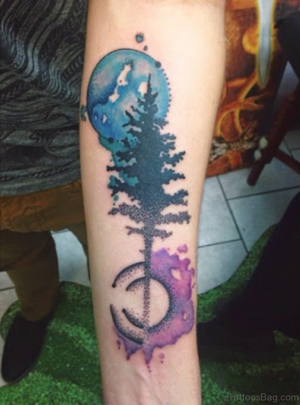 Watercolor Tree Tattoo On Wrist