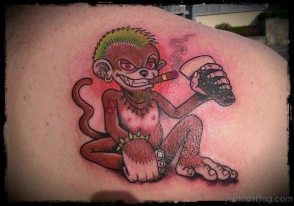 Wearied Monkey Tattoo On Shoulder