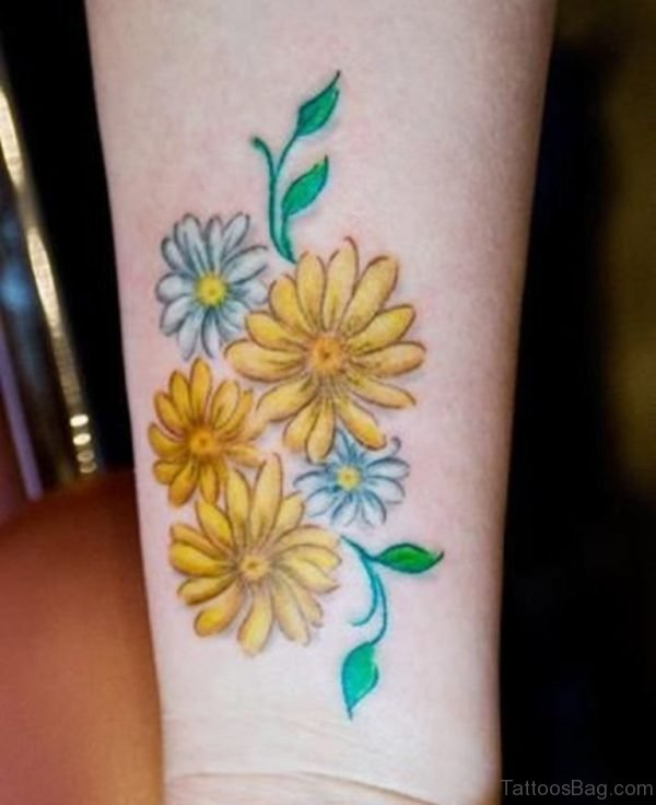 White And Yellow Daisy Tattoos On Wrist